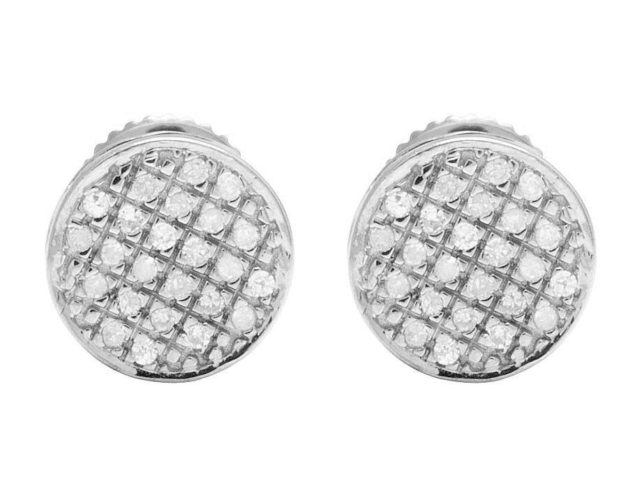 10k White Gold Real Diamond Round Earring Studs 33ct 7mm