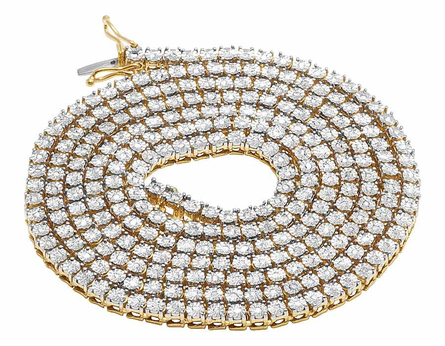 Yellow Gold Finish 1 Row Real Diamond Necklace 18 Ins (1.25 Ct)