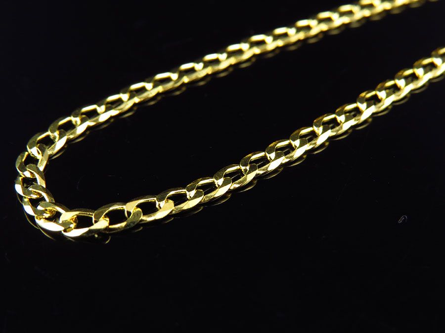 Yellow Gold Finished 3MM Curb Cuban Link Chain Necklace 18