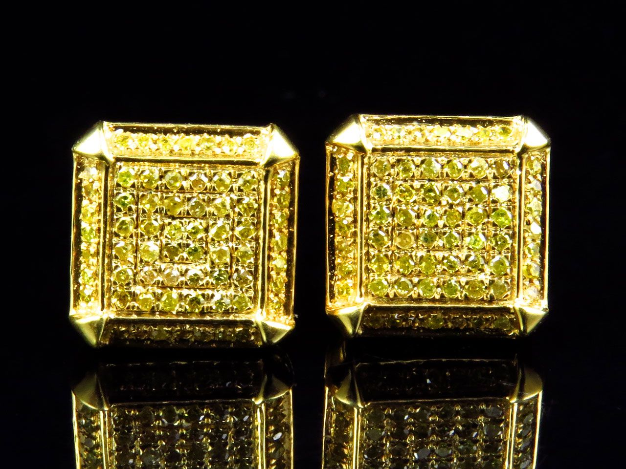 Mens Las Ice Cube Square Yellow Canary Diamond Stud Earrings 9mm 50ct