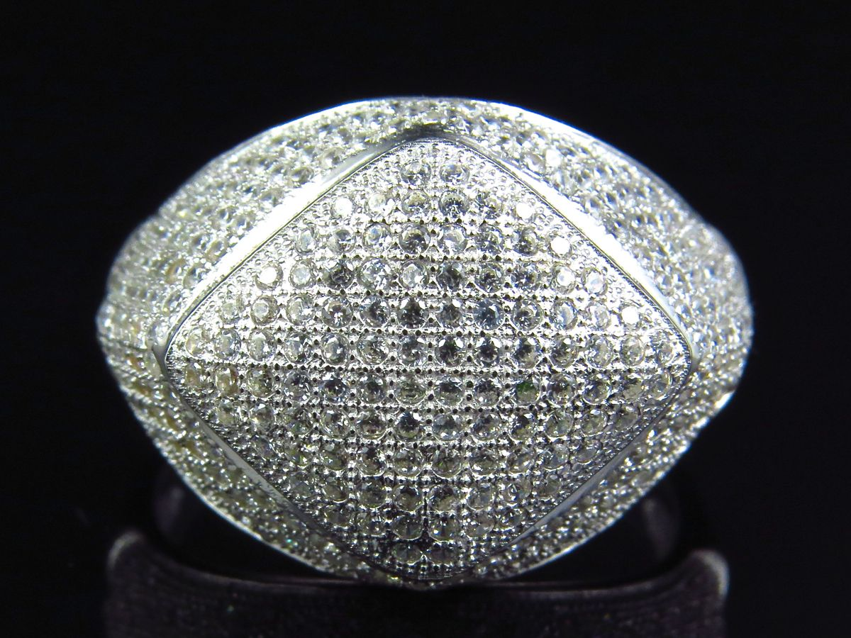 a6bbe73ae Mens 925 Sterling Silver Lab Diamond Ring In White Gold Finish
