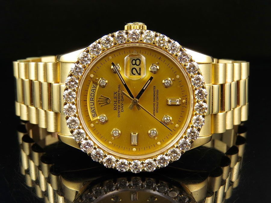 Rolex President 18k Yellow Gold Day,Date President with Diamond Bezel (5.5  ct)