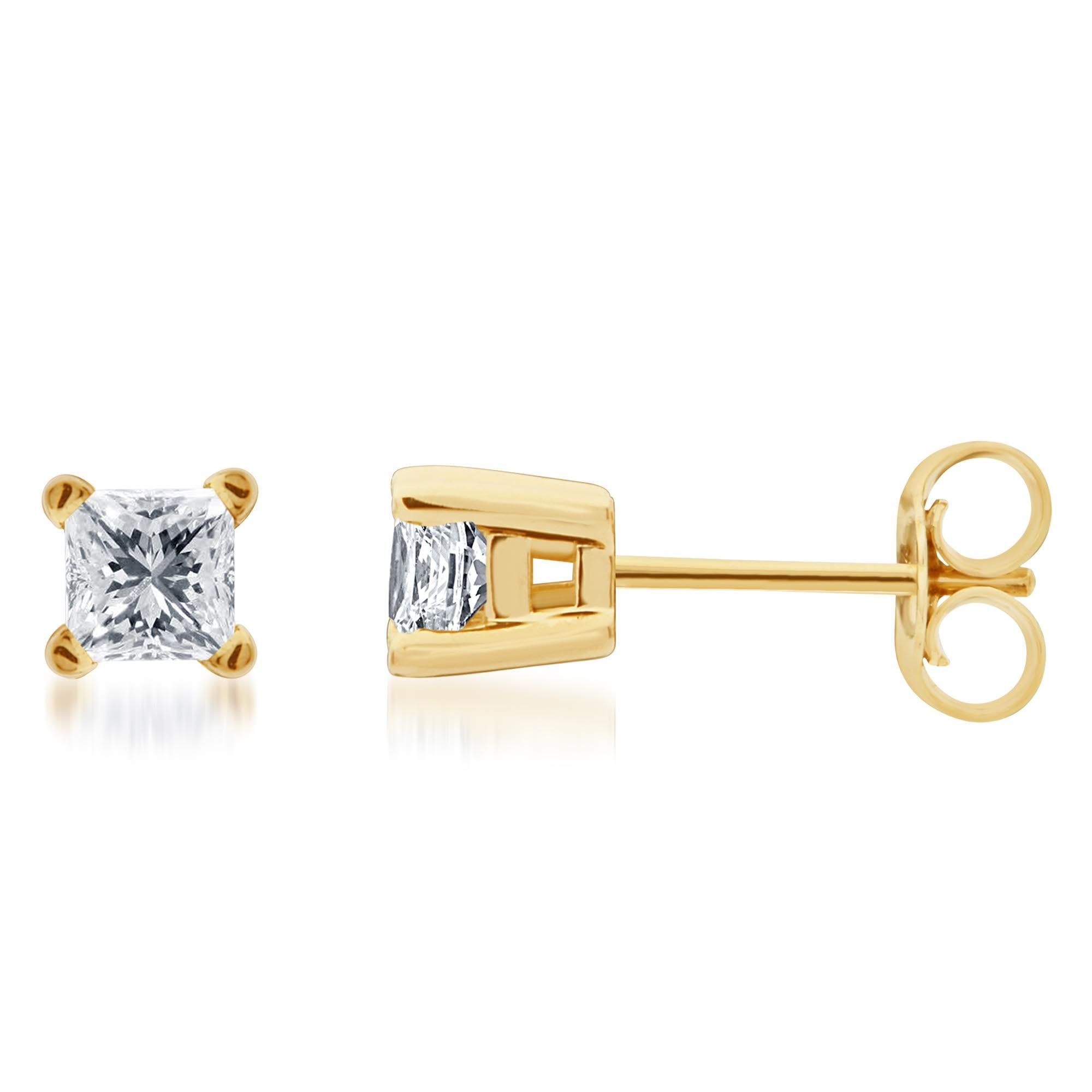 Details about  /1.0 Princess Solitaire Classic Stud Simulated Turquoise Earrings 14k Yellow Gold