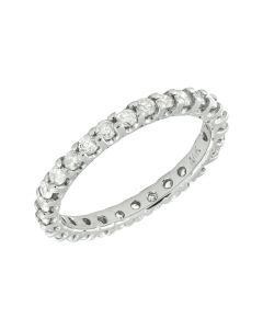 14K White Gold One-Row Real Diamond Eternity Band 0.81Ct