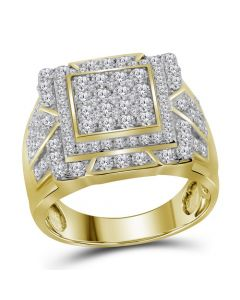 Mens 10K Yellow Gold Square Pinky Diamond Ring 2.25 Ct