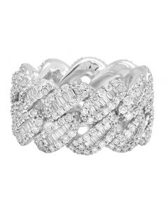 10K White Gold Real Diamond Baguette Cuban Ring Band 14MM 5.5 CT