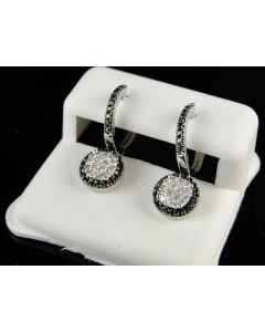 Dangle Chandelier White Gold Diamond Round Earrings
