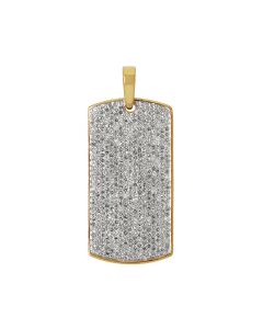 Yellow Gold Mens Iced Out Dogtag Genuine Diamond Pendant 2.0 Ct 1.45""