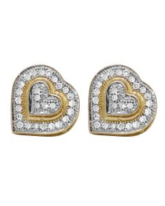 10K Yellow Gold Real Diamond Heart Puff Earring Studs .25 ct