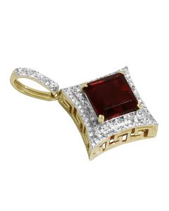 10K Yellow Gold Real Diamond Kite Ruby Pendant .50ct