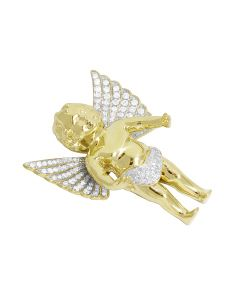 10K Yellow Gold 1.5 Inch Cherub Baby Angel Real Diamond Pendant 1.35 ct