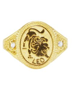 Men's Real 10K Yellow Gold Leo Lucky Lion Sign Zodiac Ring 14MM