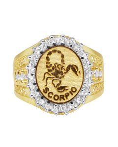 Men's Real 10K Yellow Gold Scorpio Astrology Zodiac Lab Diamond Ring 20MM