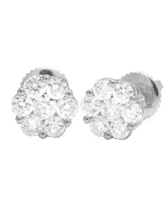 10K White Gold Round Flower Cluster Diamond Stud Earrings 1.07 CT 8MM