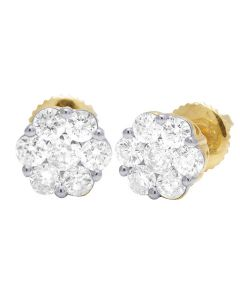 10K Yellow Gold Round Flower Cluster Diamond Stud Earrings 1.07 CT 8MM