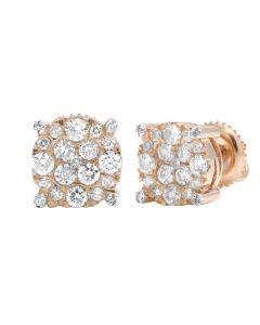 10K Rose Gold Diamond 8MM Cluster Stud Earring 0.50 CT