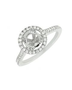14K White Gold Halo Semi Mount Engagement Ring 0.52ct
