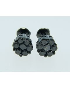 Black 6mm Diamond Stud Earrings 1OK Black  Gold