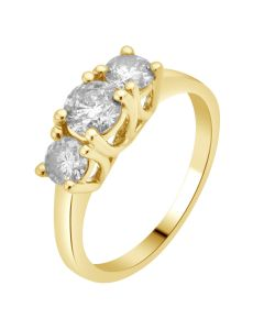14K Yellow Gold Real Diamond 3 Stone Engagement Ring 1.50ct