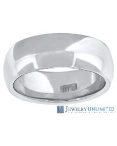 10K White Gold Mens Ladies Comfort Fit Wedding Band Ring 7mm