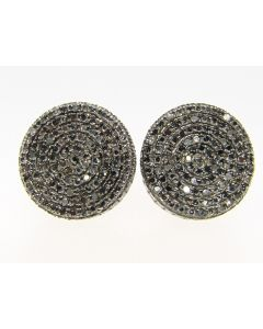 Black 3D Round Handset Diamond Stud Earrings 1.0 Ct