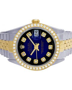 Rolex Datejust 18K/ Steel 36MM Vignette Dial Diamond Watch 2.5 Ct