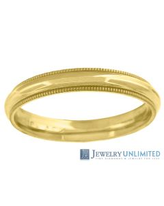 10K Yellow Gold Mens Ladies Comfort Fit Milgrain Style Wedding Band Ring 3mm