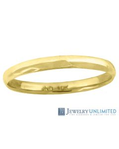 10K Yellow Gold Mens Ladies Hollow Comfort Fit Wedding Band Ring 2mm