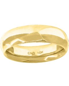 10K Yellow Gold Mens Ladies Hollow Comfort Fit Wedding Band Ring 6mm