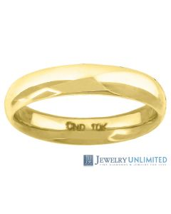 10K Yellow Gold Mens Ladies Hollow Comfort Fit Wedding Band Ring 4mm