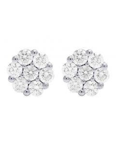 14K Yellow Gold Diamond Round Cluster Stud Earring 2.0 Ct 8MM
