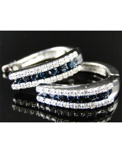 Blue and White Diamond Hoops Huggie Earrings In 10K