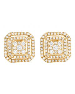 14K Yellow Gold Diamond Octagon Stud Earring 0.60 Ct 9MM