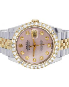 Rolex Datejust 18K/ Steel 116233 Pink Dial Diamond Watch 4.2 Ct