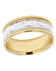 Mens Ladies 14K Two Tone Gold Comfort Fit Rope Wedding Band Ring 8MM