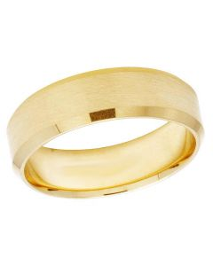 14K Yellow Gold Mens Ladies Comfort Fit Matte Wedding Band Ring 6.5MM