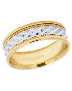 Mens Ladies 14K Two Tone Gold Comfort Fit Rope Wedding Band Ring 7MM