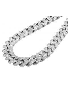"""Men Solid 10K White Gold Real Diamond Two Row Prong Miami Cuban 65.6CT 23MM 22"""""""
