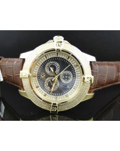 Yellow Techno Com KC Black Mother Pearl Face Diamond Watch