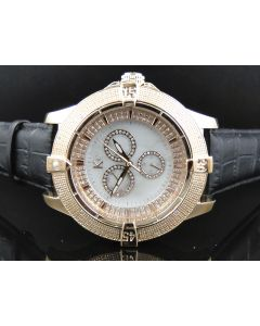 Rose Finish Techno Com KC White Mother Pearl Face Diamond Watch