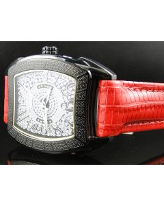 King Master Rounded Black Face Red Reptile Diamond Watch