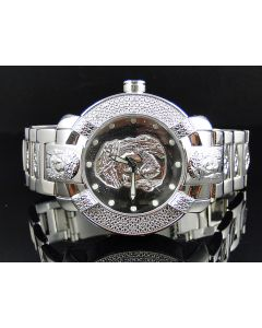 Mens Aqua Master W#96 Diamond Watch White Gold Finish (.45 ct)