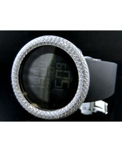 Mens Simulated Diamond Designer Watch In White Gold Finish
