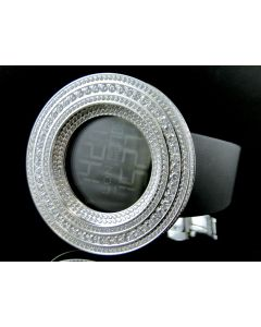 Mens Simulated Diamond Designer Watch In White Gold Finish (Exclusive Bezel)