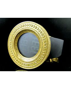 Mens Simulated Diamond Designer Watch In Canary Gold Finish (Exclusive Bezel)