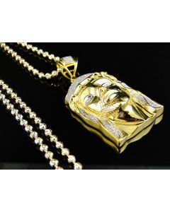 Diamond Jesus Pendant / Chain Yellow Gold Finish - Main
