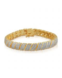 Ladies Yellow Gold Finish brass Tennis bracelet  with Genuine Diamonds 0.25ct