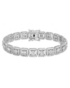 10K White Gold 9.5Ct Diamond 10MM Halo Baguette Bracelet 8.5""