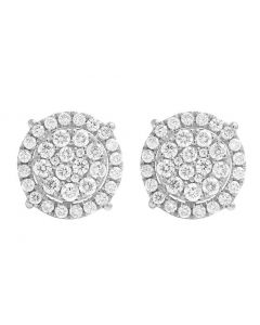 14K White Gold Real Diamond Round Cluster Studs Earring 1.0ct