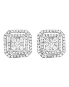 14K White Gold Diamond Octagon Stud Earring 0.60 Ct 9MM